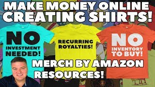 """http://www.DollarMoves.com/AmazonShirts to SEE ALL Merch By Amazon Resources! (Also Scroll Down Description To See Most Links)Watch in this video as I share with you to make money online with no inventory costs, start up fees or skills needed! You can make money online just by using your imagination and creating shirt designs for people to buy on Amazon.com! With Merch By Amazon, you create a FREE Merch account that allows you to create tee shirt designs that you can upload to Amazon's online catalog. Once you have uploaded a tshirt it is then for sale and ready to be purchased by one of Amazon's customers! People buy the shirt and Amazon will get the shirt and print your design on it! They will then send the finished shirt to the happy customer and will give YOU compensation in the form of a cash Royalty! ALL YOU HAVE TO DO IS MAKE SOME DESIGNS THAT PEOPLE LIKE! I have brought together an exhaustive list of or resources to help you to succeed in making money online by designing tee shirts for Amazon's Merch By Amazon Print On Demand (POD) platform! There are also some links at the bottom that you can use to start on other POD platforms while you wait to be given a Merch Account!Request a Merch By Amazon Account NOW so that you can start making money selling shirts on Amazon HERE!: http://www.dollarmoves.com/StartMerchWatch the FREE Youtube Video by Chris that shows you HOW TO MAKE A SHIRT DESIGN AND UPLOAD TO AMAZON HERE!: http://www.dollarmoves.com/YTCGMerchCheck out Chris Green's Awesome, Informative Books About Merch by Amazon (Including his book """"Merch Life"""" about the basics of Merch By Amazon and Also his Brand New Book """"Merch Resources"""") At his Author page on Amazon HERE!:  http://www.dollarmoves.com/ChrisGreenBooksProven Merch Course is taught by Chris Green and shows you the steps you need to know to get started selling successfully on Merch By Amazon! Check it out HERE!: http://www.dollarmoves.com/ProvenMerchCourseMaking Designs For Merch By Amazon Shirts!"""