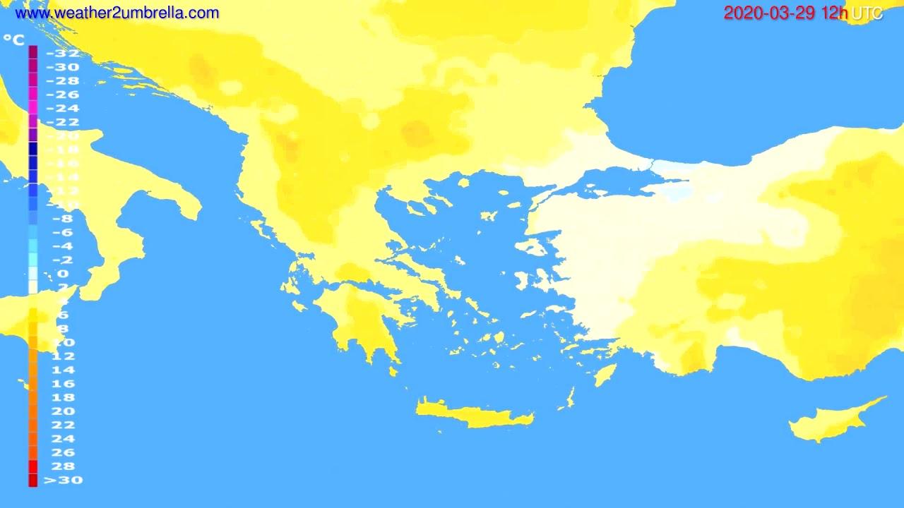 Temperature forecast Greece // modelrun: 12h UTC 2020-03-28