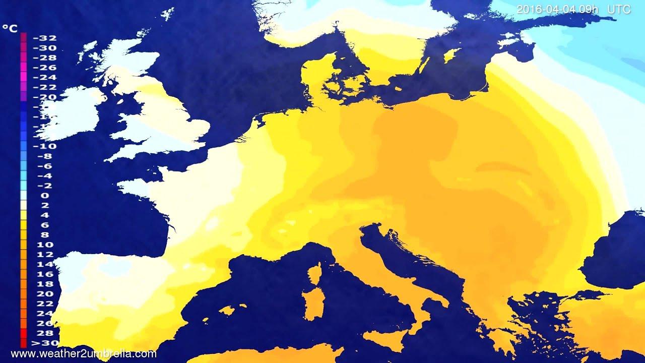 Temperature forecast Europe 2016-04-02