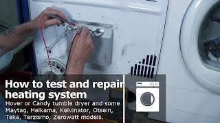 http://www.how-to-repair.com/help/tumble-dryer-not-heating-hoover-candy-diagnosing-fault-and-repair Tumble dryer not heating how to check and replace the element, ntc sensor, thermostat, and how to repair printed circuit board pcbThis video with help you repair your faulty heating system on Hoover Candy tumble dryers with a heater element, thermostat, Ntc senor or a blown printed circuit board (PCB) can be used on some Maytag, Helkama, Kelvinator, Otsein, Teka, Terzismo, Zerowatt Models.Please remember to subscribe to our channelhttps://www.youtube.com/user/Apart4u?sub_confirmation=1Remember to Shop with www.how-to-repair.com and it would help us by posting the video or website on your timeline. This helps us a lot and if we really helped you can always buy us a beer http://how-to-repair.com/help/buy-paul-a-beer/Please remember to mark us to your favourites also I would be grateful if you would subscribe to our channels social media as this really helps my site and keeps us going.YouTube. http://www.youtube.com/user/Apart4uFacebook. https://www.facebook.com/how.to.repair.appliances