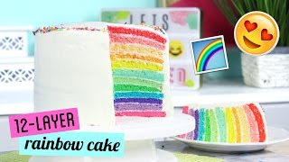 How to Make a TWELVE LAYER Rainbow Cake!