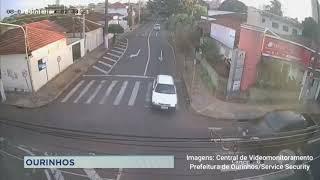 Ourinhos: câmeras de segurança flagram acidente em cruzamento