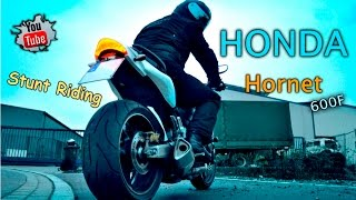 4. Honda Hornet 600F - Stunt Riding Show (SHOOTING HUGE FLAMES + Burnout)=HD