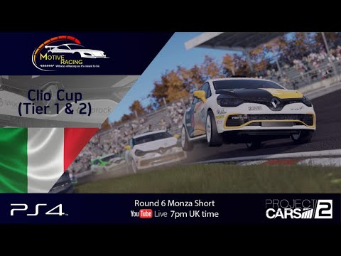 [TIER 1 FEATURE] (PS4) Motive Racing's Clio Cup   Round 6   Monza Short ---Project Cars 2---