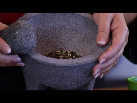 Grinding Peppercorns With Mortar & Pestle : Cheese Dishes & More
