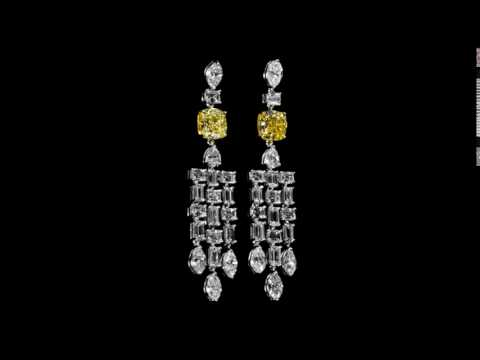 GIA Certified 4.08ct (TDW) Cushion Cut 'Internally Flawless' Fancy Yellow Diamonds Dangling Earrings