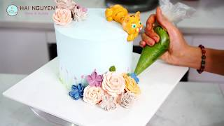 Amazing Cake Decorating Combined With Creating Tiger Shape | Bánh Trang Trí Hoa Kết Hợp Bơm Thú Nổi