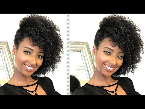 Curly hairstyles - Side Swept Updo for Natural Curly Hair  Easy Wash n Go Hairstyle