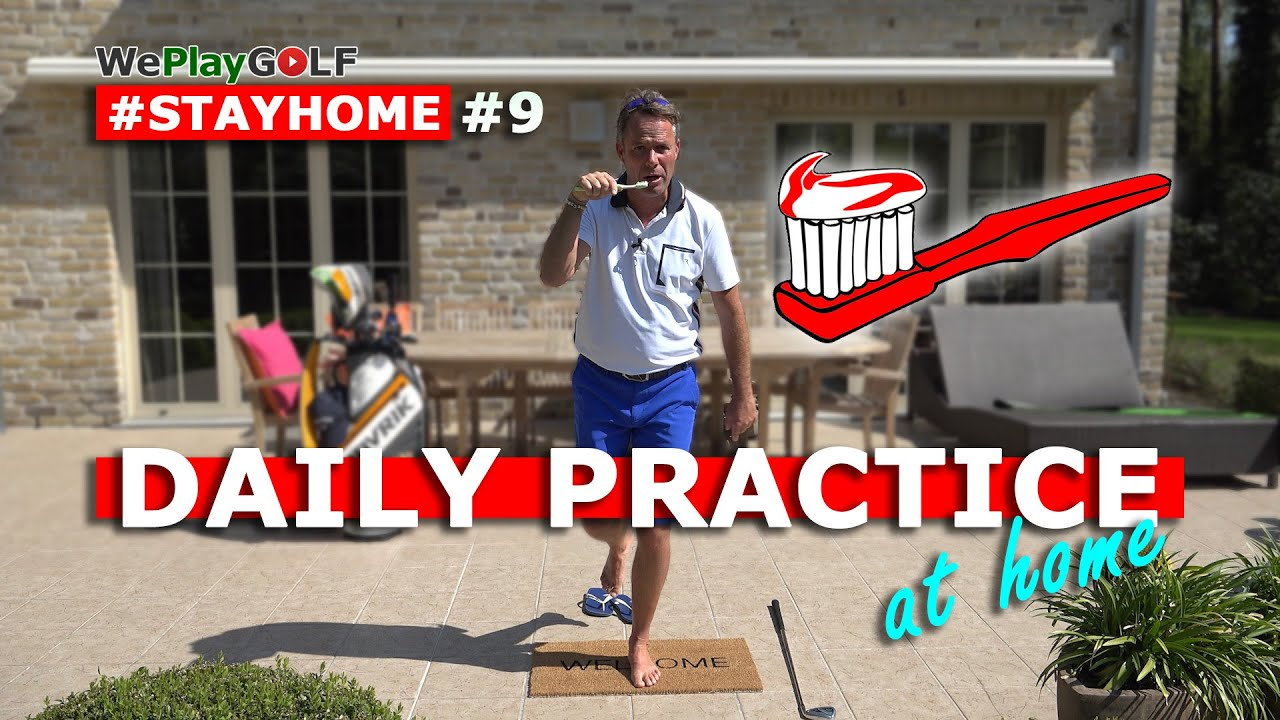 Easy daily golf practice in your bathroom: improve your balance with a toothbrush!