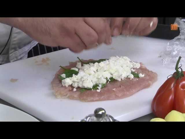 Gefülltes Hähnchenbrustfilet mit Feta an Zuckererbsen und Rosmarinkartoffeln