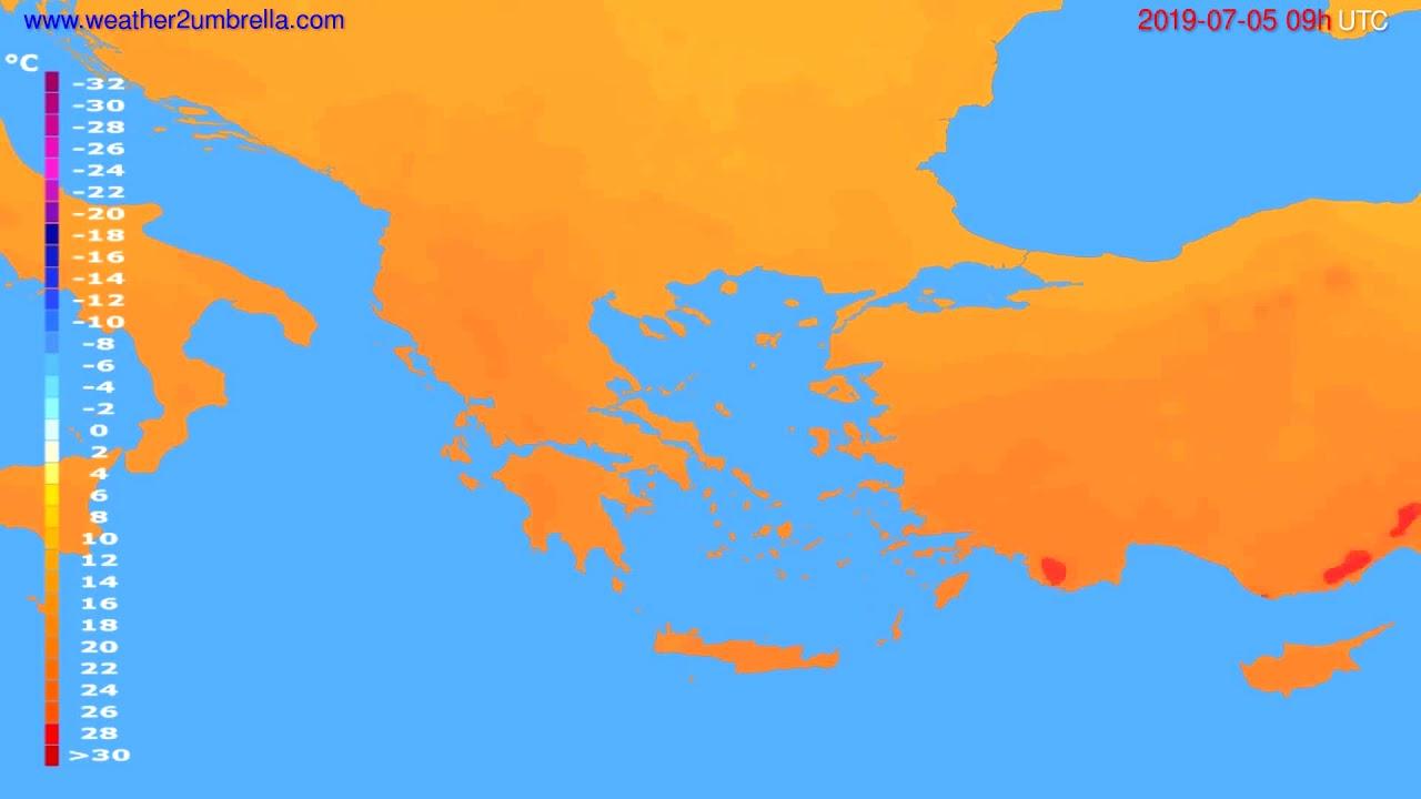 Temperature forecast Greece // modelrun: 12h UTC 2019-07-03