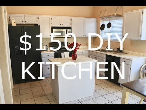 Diy Faux Granite Countertops And Painted Cabinets $150 Total!!