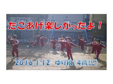 はちまん保育園(福井市)ゆり組(4歳児年中)が園庭でたこあげを楽しみました。2016年1月撮影