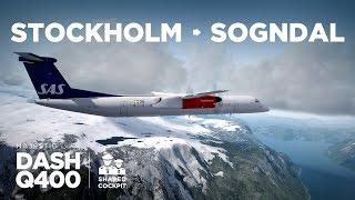 Prepar3D - Dash-8 Q400 / Stockholm → Sogndal (pista curta!) ** Shared Cockpit ** Video