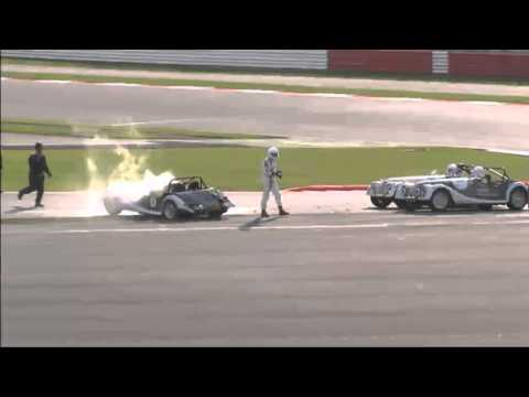 Luther Blissett crashes Morgan at Silverstone Classic July 2011