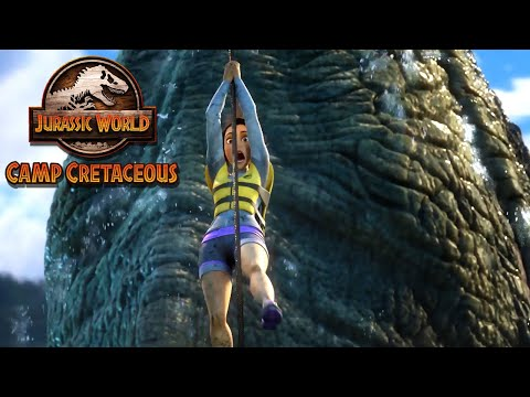 Escaping the Mosasaurus Pool | JURASSIC WORLD CAMP CRETACEOUS | NETFLIX