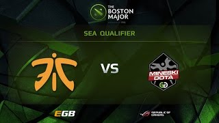 Fnatic vs Mineski, Game 1, Boston Major SEA Qualifiers
