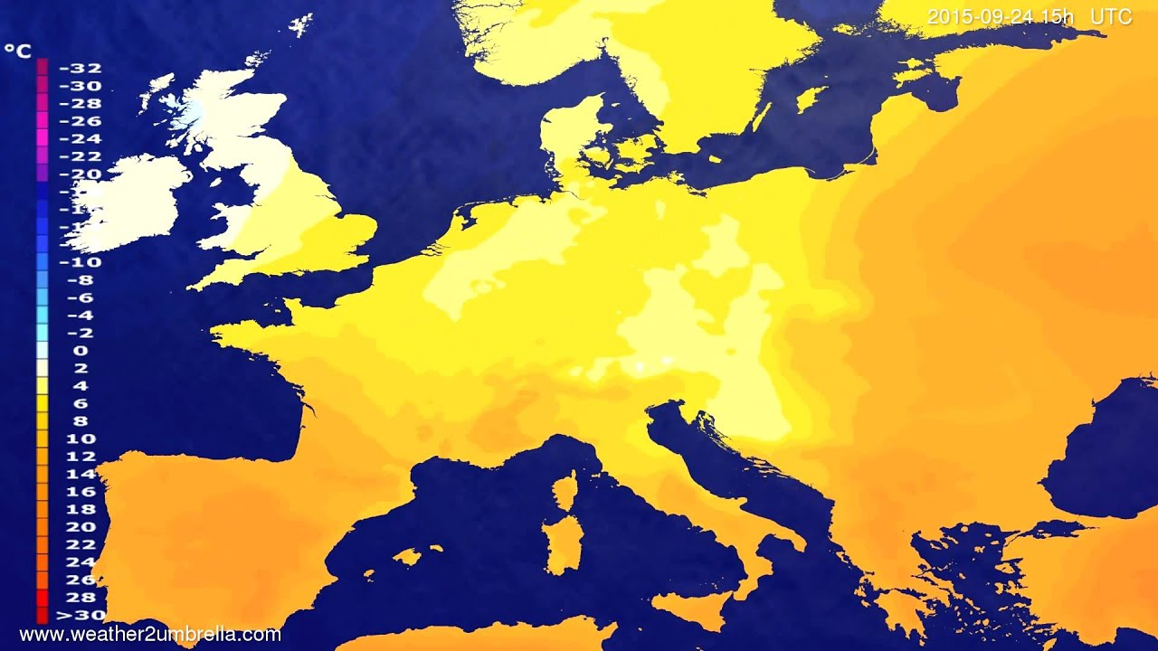 Temperature forecast Europe 2015-09-20