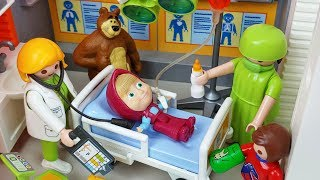 Download lagu Masha And Bear Playmobil Doctor And Hospital Toys Ambulance Car Play Mp3