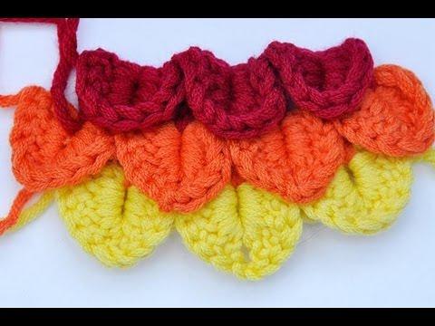 tutorial uncinetto/crochet    punto coccodrillo/crocodile stitch