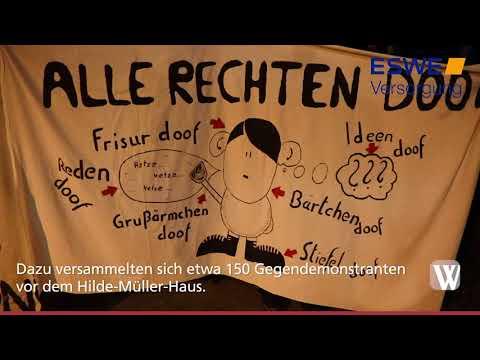 Demo gegen die AfD vor dem Hilde-Müller-Haus in Wiesb ...