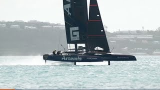 The America's Cup racing series is not a boat race, it's an air race. The boats are airplanes that rise up on foils, using the same principles of lift as an aircraft—with none of the safeguards, and much of the risk. More at The Drive: http://www.thedrive.com/watch-this/11055/americas-cup-sailboats-are-actually-airplanes