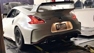 This newer Nissan 370z Nismo goes on the dyno and does a few pulls. The car makes some ridiculous power. Filmed at Black Market Racing in Phoenix, Arizona dyno event as part of the Street Car Takeover event.
