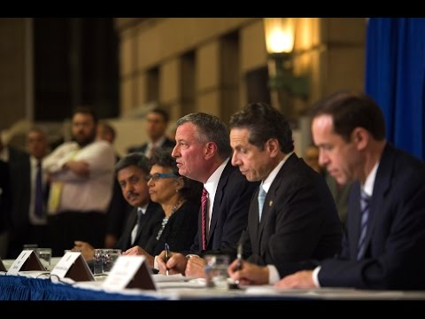 DE - Mayor Bill de Blasio Hosts Press Conference with Governor Cuomo Bellevue Hospital Atrium Lobby 1st Avenue, between 27th and 28th Street, Manhattan October 23, 2014.