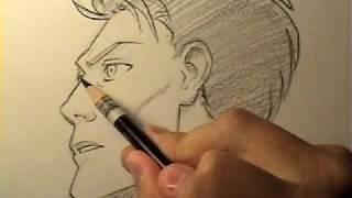Видео: как рисовать мужское манга лицо в профиль