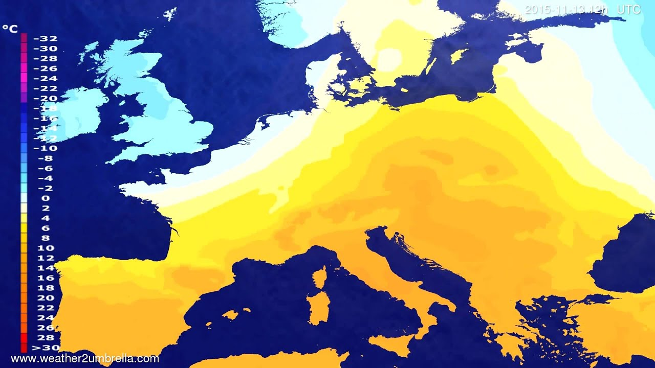 Temperature forecast Europe 2015-11-09