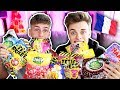 BRITISH BOYS TRYING FRENCH CANDY!!! WITH JOE TASKER (TASTE TEST)