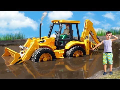 Excavator loader JCB Bruder stuck in the mud and broken down | Toys 2 Boys