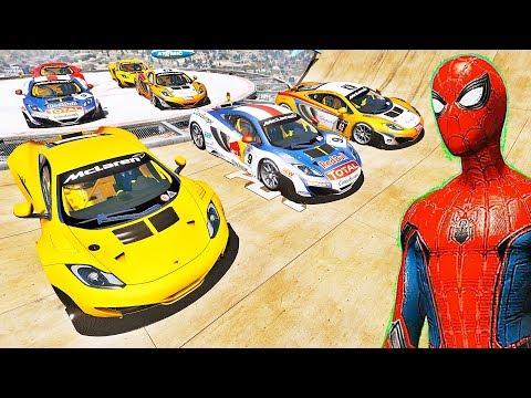 CARROS de Corrida com HOMEM ARANHA e SUPER HERÓIS! Desafio de Super Carros na Rampa - IR GAMES