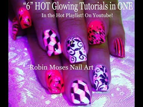 5 GLOWING HOT Nail Art Tutorials | Mix N Match Nails | Neon Pink NAIL Design!