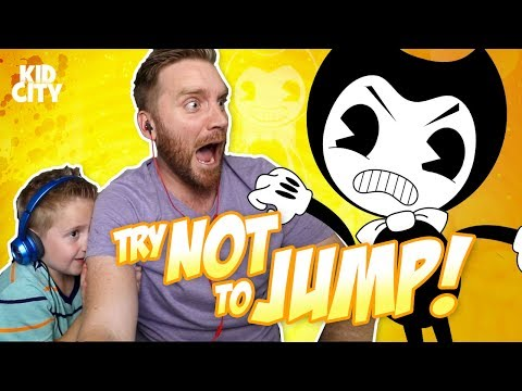 Try Not to Jump Challenge with Bendy and the Ink Machine, Fidget Spinner & Evil Mickey Mouse!