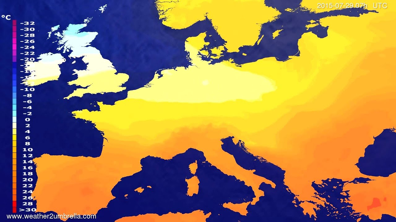 Temperature forecast Europe 2015-07-25