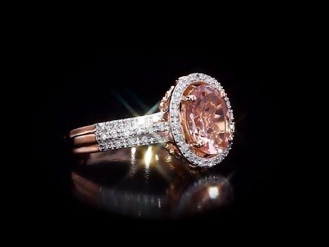 JK Crown: Morganite & Diamond Halo Ring in 10k Rose Gold