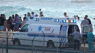 Airplane Jet Blast hitting an EMS Ambulance on Maho Beach, St. Maarten, Princess Juliana Airport, SXM. © Kai A. Hortmann Recorded with SONY FDR-AX53.