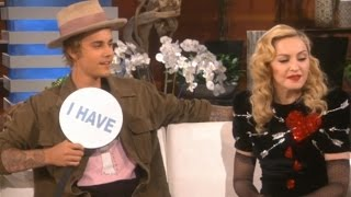 Justin Bieber&Madonna Get Kinky On Ellen&Play Never Have I Ever!