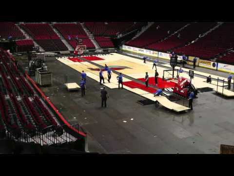 Watch Moda Center transform from basketball court to hockey rink (time-lapse video)