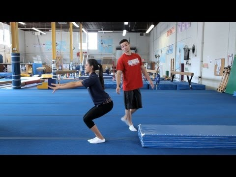 tuck - Watch more Gymnastics Training videos: http://www.howcast.com/videos/511374-How-to-Do-a-Back-Walkover-Gymnastics-Lessons Learn how to do a standing back tuck...