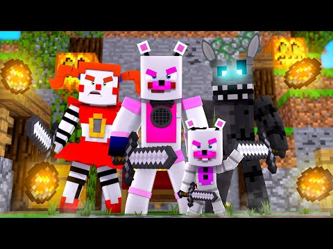 Helpy, Twisted Wolf, and Circus Baby Play Bed Wars! Minecraft FNAF Roleplay