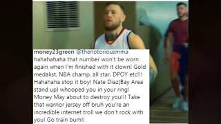 Draymond Green Disses Conor Mcgregor and tells him to talk off his jersey Conor responds turns out it was a CJ Watson Jersey.