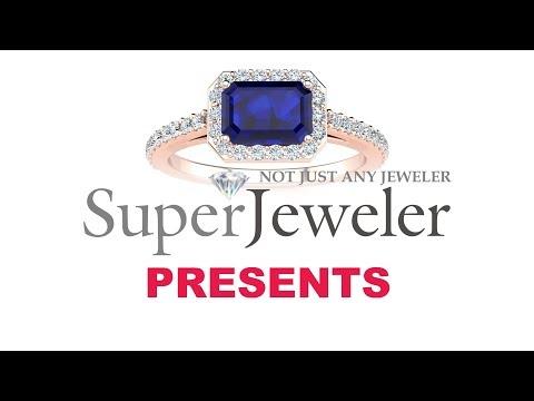 Sapphire rings, September Birthstone, Sapphire and Halo Diamond Ring In 14 Karat Rose Gold  JWL24340