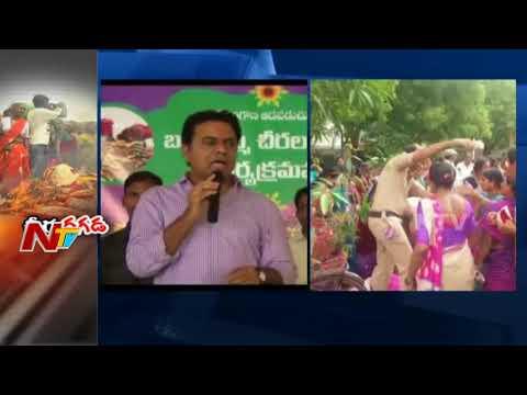 Sarees Distribution for Bathukamma Festival Turns Controversial in Telangana    NTV (видео)