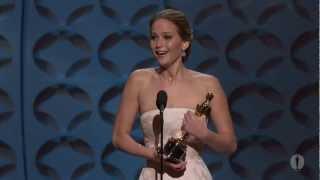 Jennifer Lawrence winning Best Actress