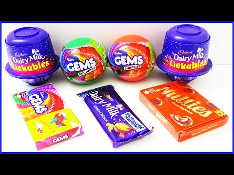 Cadbury Dairy Milk Lickables Gems Balls Chocolates Surprise Toys | Learn Colors Nursery Kids Rhymes