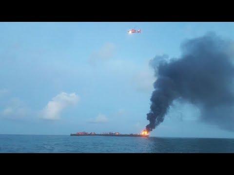 В Техасе на барже произошел взрыв и пожар