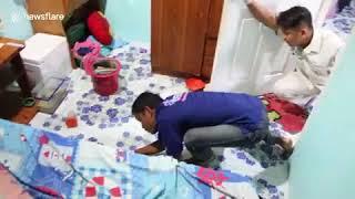 Спасатели вытащили из-под кровати подростка агрессивного питона