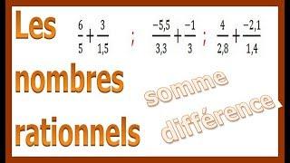 Maths 4ème - Les nombres rationnels Somme et Différence Exercice 11